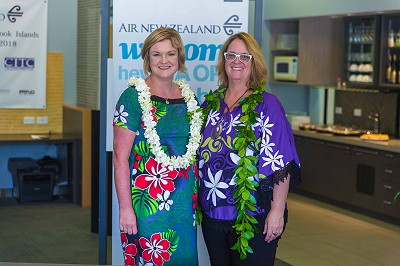 Air New Zealand Cook Islands Manager Marisa Newman and CI Tourism Industry Council President Sue Fletcher-Vea
